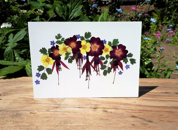 Blank Card Card for Gardeners Forget Me Not Card English Pressed Flower Print Floral Note Card