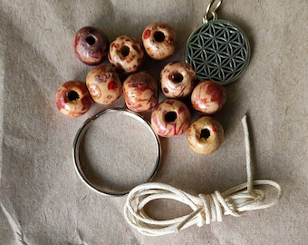 DIY KIT keychain made of wooden beads, wax wire, key ring and Flower of Life charm yourself.