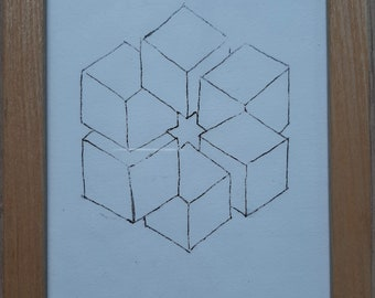 Illusion 3a, Lithograph on paper in wooden frame