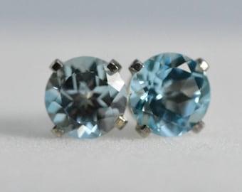 Blue Topaz earrings | sterling Silver,6mm earrings, blue topaz, topaz studs, November birthstone, gift for her, gift for women, valentine