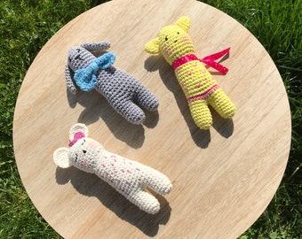 Mini trio AMIGURUMI crochet and storage bag