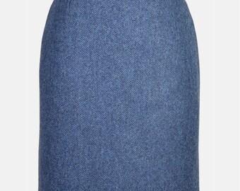 """21"""" Skirt in Lorne-Blue Tweed"""