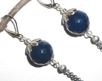 Blue earrings, agate earrings, clip earrings, pendant earrings, long earrings, earrings for women.