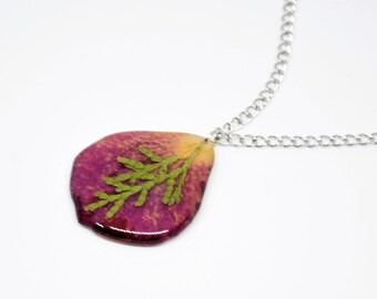 Necklace, Pink necklace, Short necklace, Transparent pendant with rose petal, Pendant necklace with petal, Gift for her.