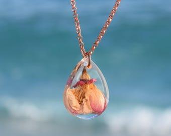 Pink Gold Necklace, Short Necklace with Flower, Dropshape Pendant, Transparent Resin Pendant, Romantic Necklace, Min. Necklace.
