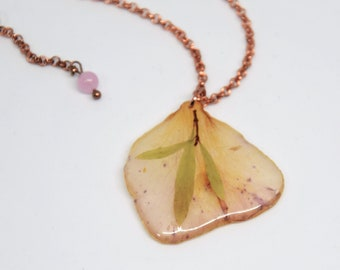 Rose gold necklace, Short necklace, Necklace with pendant, Transparent pendant with petal, Pendant necklace with petal, Gift for her.