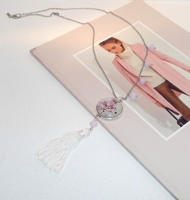 Pink Jade Necklace Fuchsia Orchid Necklace White Tassel Necklace Tassel Necklace Pendant Necklace,Long Necklace. Necklace with Cabochon