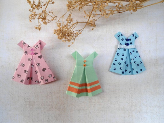 September Origami Dresses Paper Clothes Paper Clothes Etsy