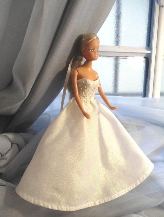 Barbie Biała Sukienka Suknia ślubna Barbie Sukienka Ubrania Etsy