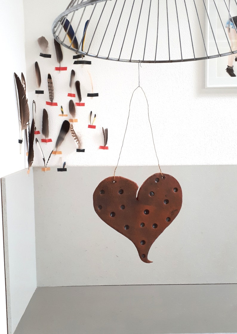Handmade ceramic heart for hanging souvenirs for Mother/'s Day best friend
