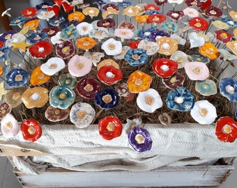 Ceramic flowers colorful, 10 handmade ceramic flowers, garden, decoration, ceramic flowers, flower garden décor, souvenir