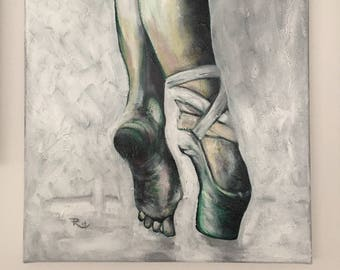 Painting Ballet and Pointe on Spitzs-Classic dancer-Dance-Acryllics-Beaux Arts-realistic art-Worldwide shipping