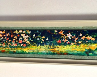 Blossom, atmospheric original painting-oilpainting-long throwing-van Gogh style-dim. 106 x 35 cm-Worldwide shipping