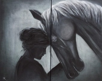 I see you   Art by Randy Etty   Ettyimages   Dyptich Woman and Horse