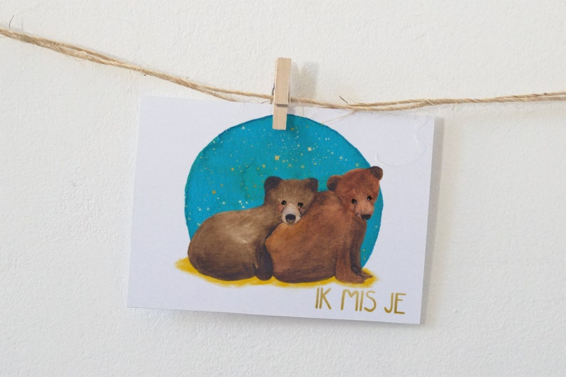 I miss you Postcard with two sweet bears illustration image 0