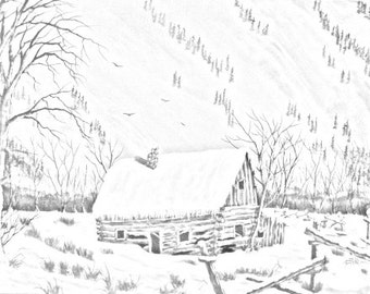 Cabin In The Snow Country And Landscape Downloadable Adult Coloring Page PDF