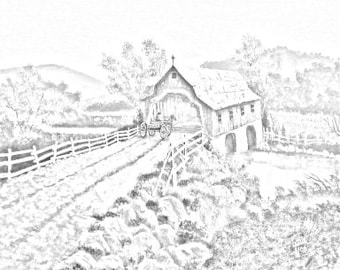 The Covered Bridge Country And Landsape Downloadable Adult Coloring Page PDF