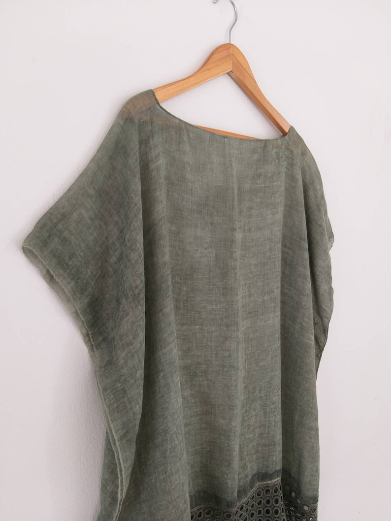 Free size Olive green color see through kaftan Beach Cover Up Casual Top Blouse