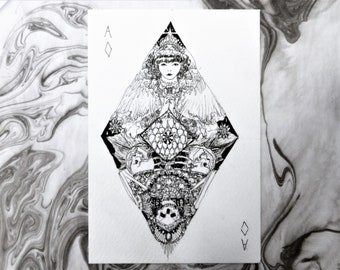 Playing card themed pen and ink postcard | Ace of diamonds