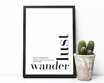 Wanderlust wall art, Digital art print, Typography, Printable, Poster