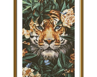 Tiger cross stitch kit Tropical animals embroidery kit Counted cross stitch chart DIY home decor Wild cat embroidery threads
