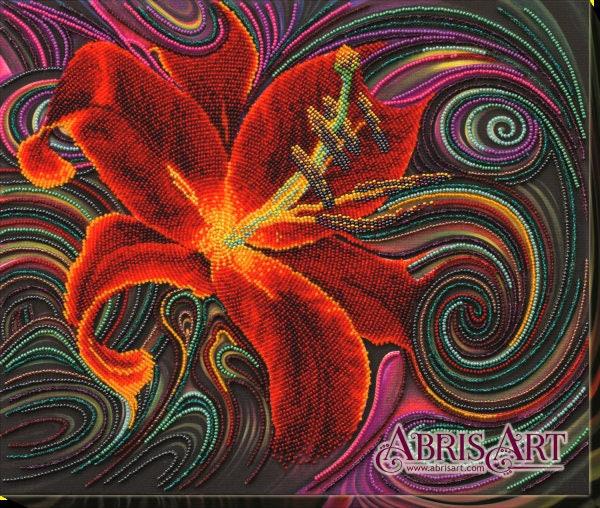 Kit Kit Kit de broderie de perle, fleur de Lys magie rouge, 37 x 30 cm, kit de broderie, kit de bricolage, grille de broderie de perle, cadeau pour elle, motif de broderie fleurs 1f7031