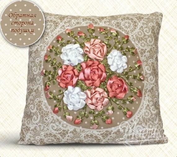 Embroidery Kit Vintage Pillowcase Kit Ribbon Embroidery Etsy