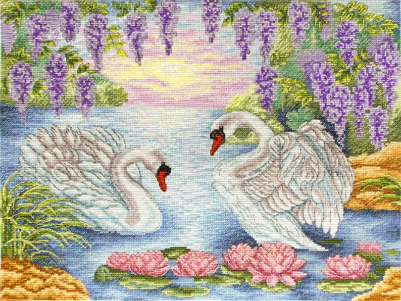 Counted Cross Stitch Kit Advanced Birds Embroidery Designs DIY Embroidery Kit Floral Embroidery Couple of Swans