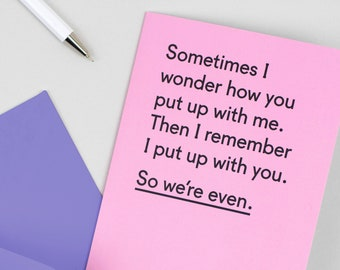 Funny anniversary card for husband - Anniversary card - Funny card for wife - Valentine - Funny Valentine card - Card for boyfriend - Even