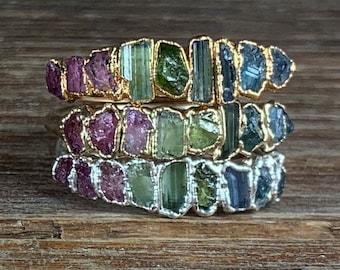 Watermelon tourmaline ring / Stacking ring / Tourmaline ring / Bridesmaids gift / Raw gemstone ring / Gift for her / wife / Engagement ring