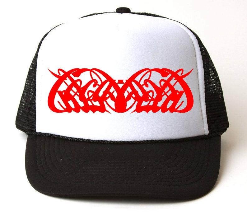 0133cfa365a classic snapback trucker hat with grid coca cola logo reverse satan lucifer  devi... classic snapback trucker hat with grid coca cola logo reverse satan  ...