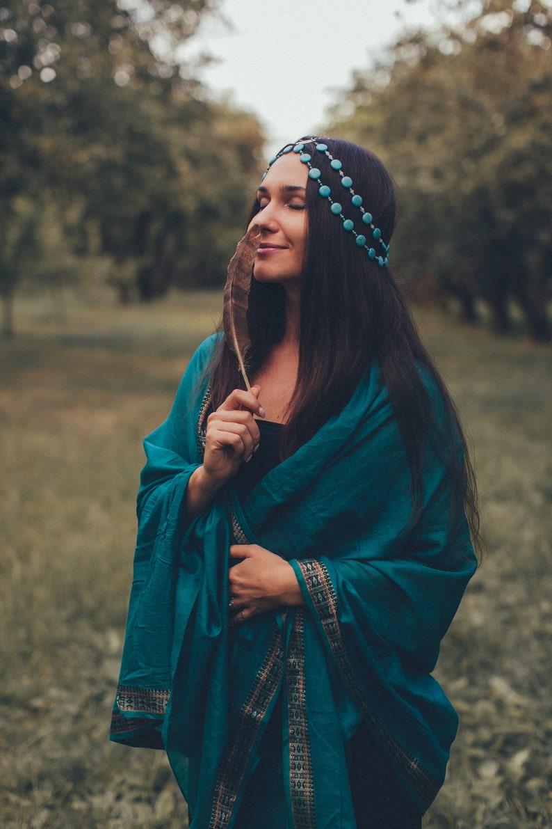 Boho tika headpiece tribal headdress Blue wave