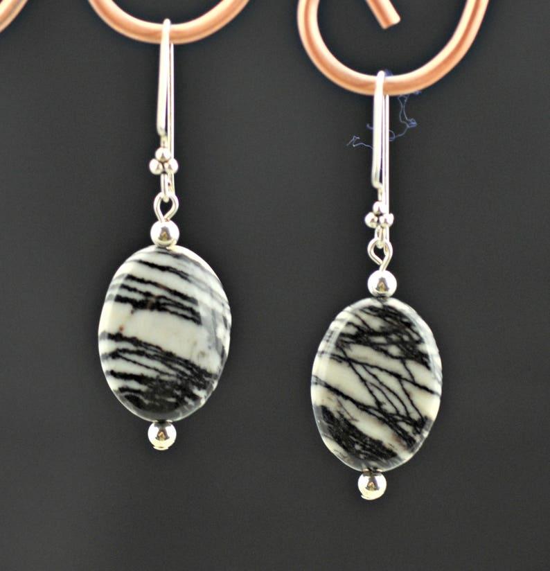 Tuxedo Agate Zebra Agate .925 silver NecklaceEarrings Set