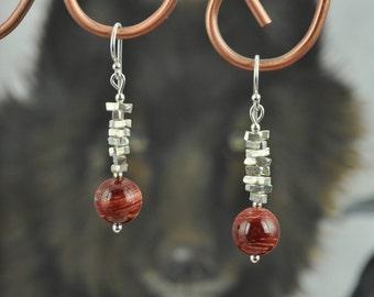 Red Snakeskin Jasper Silver dangle  Earrings