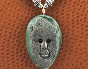 Fancy Agate Carved Monkey Ape .925 Silver Necklace