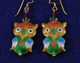 Cloisonne Owls 14K GF Earrings