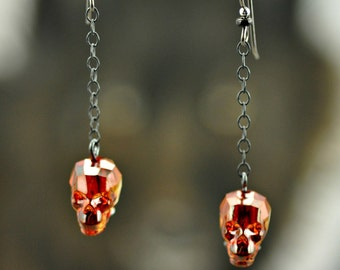 Swarovski Red Magma Crystal Skull Antiqued Sterling Silver Niobium Earrings