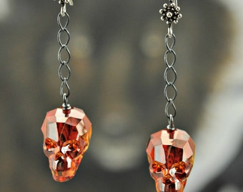 Swarovski large Red Magma Crystal Skull .925 Silver Earrings