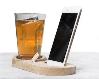 Support pour smartphone - porte tasse, Sapin ou hêtre, pour petits déjeuners ou pause café/thé