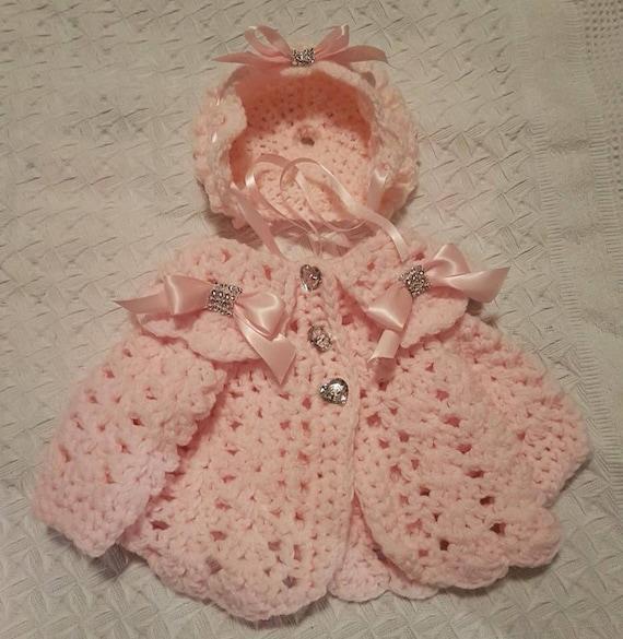 Romany Hand Crochet Bonnet And Cardigan Babies Newborn