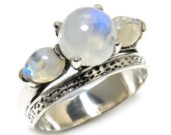 Natural Rainbow Moonstone Round Gemstone Ring 925 Sterling Silver R1251