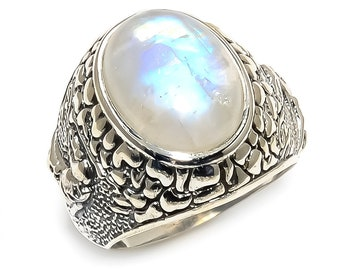 Natural Rainbow Moonstone Oval Gemstone Ring 925 Sterling Silver R1065