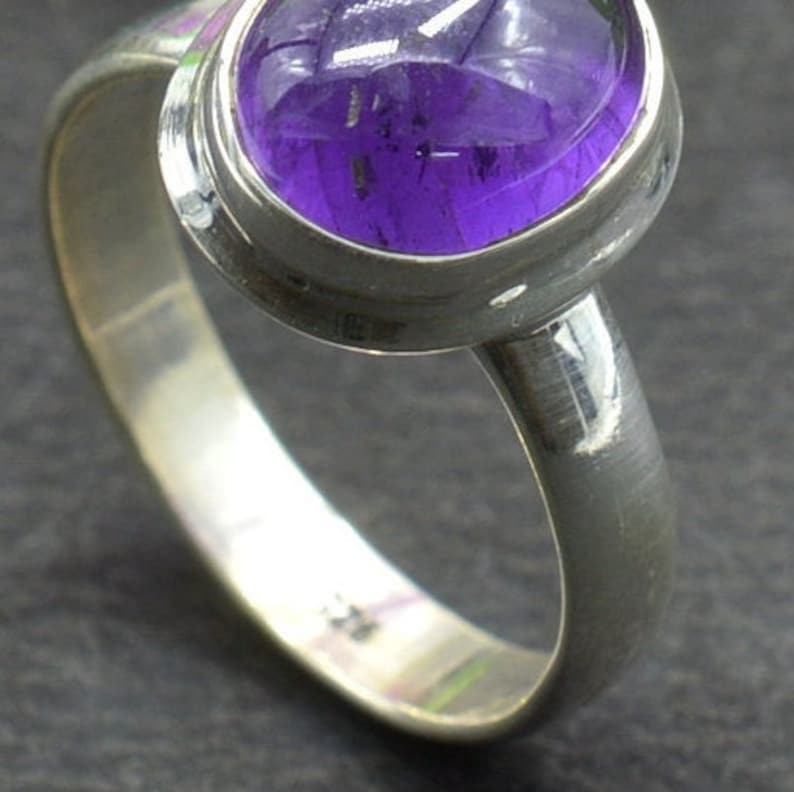February Birthstone Ring Sterling Silver Ring Gift For Her R720 Amethyst Ring Purple Amethyst Ring Solitaire Ring Oval Gemstone Ring