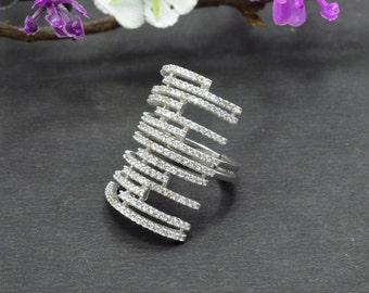 Natural Zircon Round Gemstone Ring 925 Sterling Silver R920