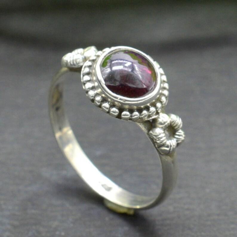 Sterling Silver Ring Gift for Her  R204 Rhodolite Garnet Ring Square Gemstone Ring January Birthstone Ring Garnet Ring Minimalist Ring