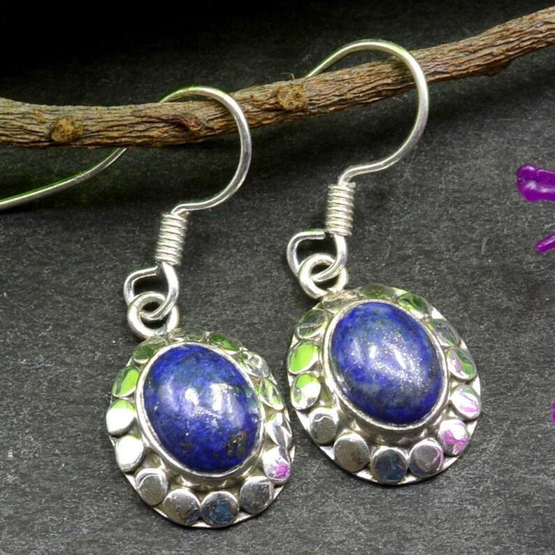 Sterling Silver Earrings Drop Dangle Earrings December Birthstone Earrings Oval Gemstone Earrings Bezel Earrings E355 Lapis Earrings