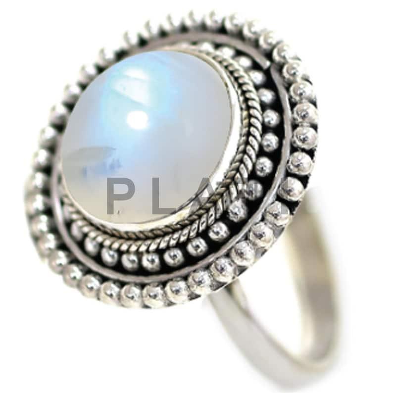 Sterling Silver Ring Blue Moonstone Ring Moonstone Jewelry Moonstone Ring Gift For Women R1493 June Birthstone Ring Promise Ring