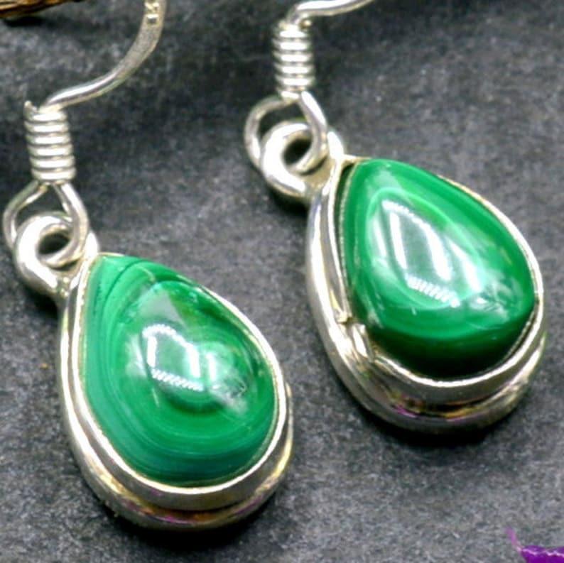 Malachite Earrings Handmade Earrings E210 Teardrop Gemstone Earrings Sterling Silver Earrings Drop Dangle Earrings