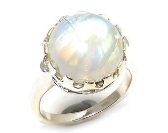 Natural Rainbow Moonstone Round Gemstone Ring 925 Sterling Silver R949