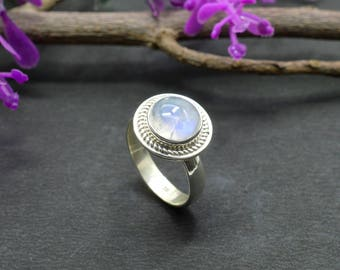 Natural Rainbow Moonstone Round Gemstone Ring 925 Sterling Silver R639